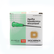 Agulha Descartável Hipodérmica - 30x8mm - DESCARPACK