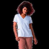 Blusa Scrub Feminina Elizabeth Branco com Rosê - NAMASTÊ