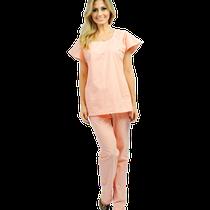 Pijama Cirúrgico Feminino Manga Curta Salmão
