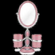 Espelho de Bancada com Suportes Laterais - Rosa