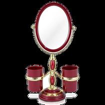 Espelho de Bancada com Suportes Laterais - Vermelho