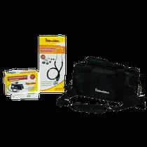 Kit acadêmico com estetoscópio preto termômetro + Digital Branco - G-Tech