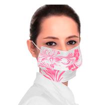 Máscara Descartável Tripla com Elástico - Floral Rosa - 2I