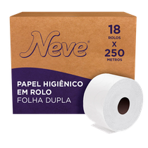 Papel Higiênico Folha Dupla Rolo Jumbo - 18 x 250m - NEVE
