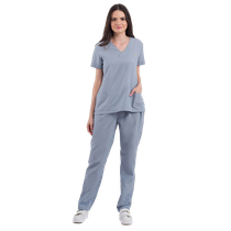 Pijama Cirúrgico Feminino Basic Cinza Escuro - DRA. CHERIE