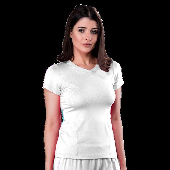 Blusa Scrub Feminina Dry Fit - Branco