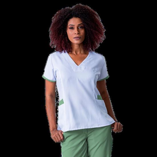 Blusa Scrub Feminina Elizabeth Branco com Verde - NAMASTÊ