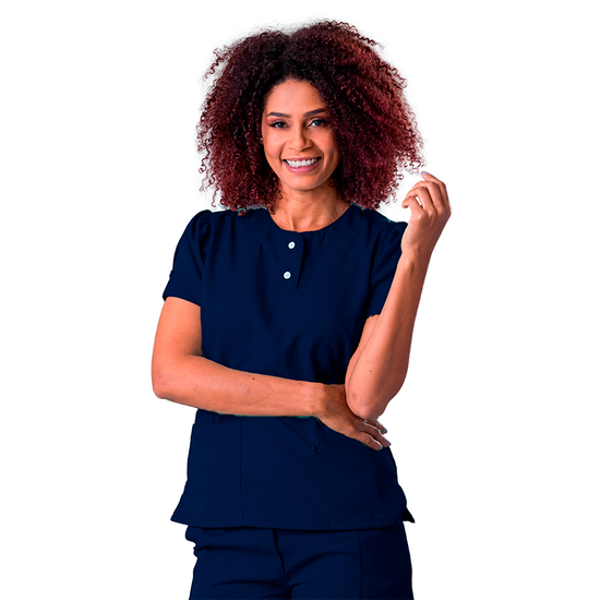 Blusa Scrub Feminina Gabardine Princesa Azul Marinho - NAMASTÊ