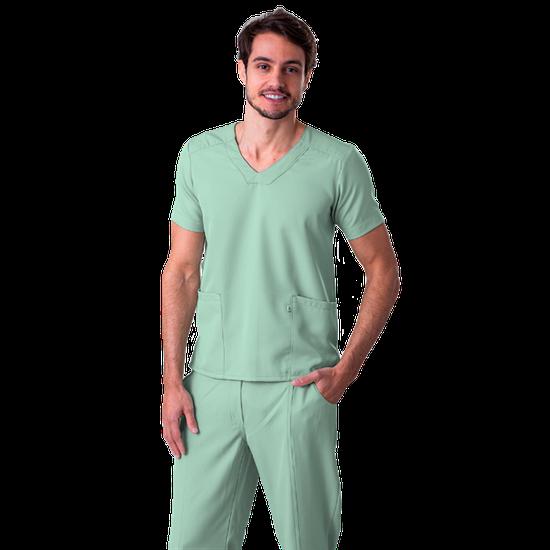 Blusa Scrub Masculina Gabardine Verde - NAMASTÊ