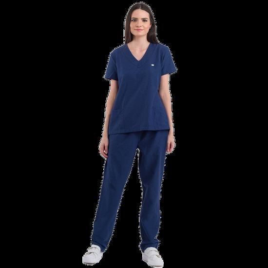 Pijama Cirúrgico Feminino Basic Azul Marinho - DRA. CHERIE