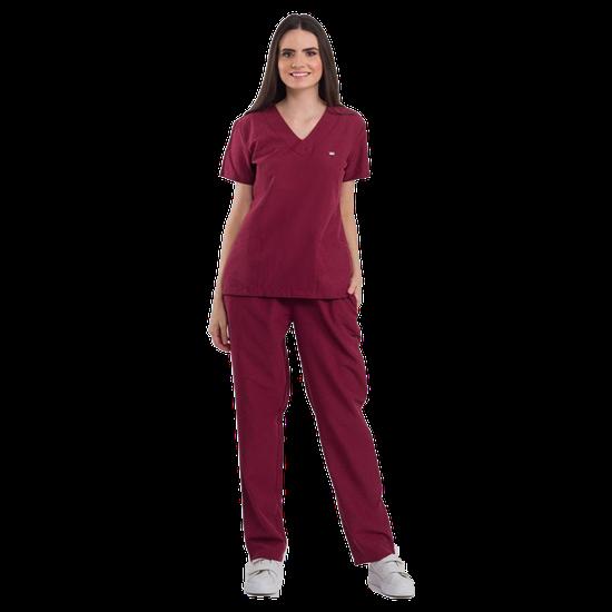 Pijama Cirúrgico Feminino Basic Bordô - DRA. CHERIE