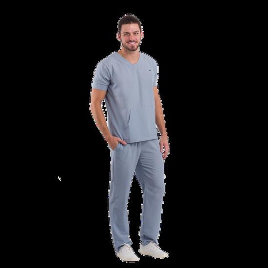 Pijama Cirúrgico Masculino Basic Cinza Escuro - DRA. CHERIE
