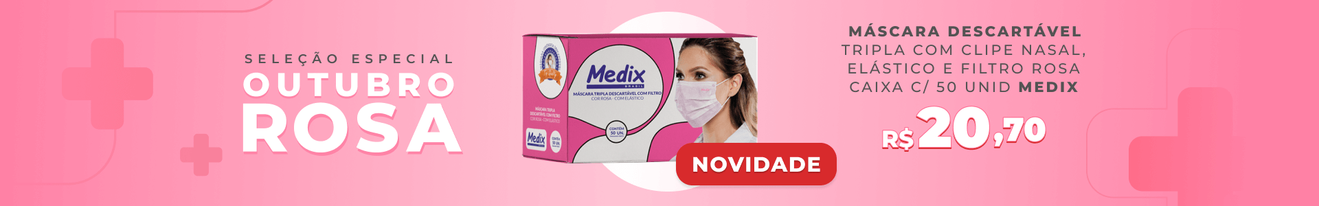 Máscara Descartável Tripla com Clipe Nasal, Elástico e Filtro - Rosa - MEDIX